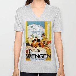 Vintage Wengen Switzerland Travel Unisex V-Neck
