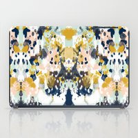 california iPad Cases featuring Sloane - Abstract painting in modern fresh colors navy, mint, blush, cream, white, and gold by CharlotteWinter