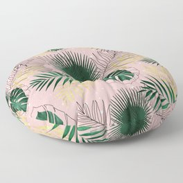 Modern gold tropical leaves and doddles design Floor Pillow