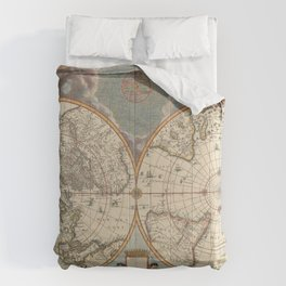 1672 World Polar Projection Map  Comforters