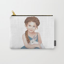 Little girl stroking  bunny Carry-All Pouch