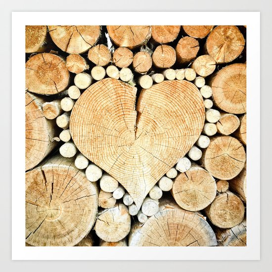 Wood Heart Symbol Art Print