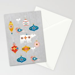 christmas vintage decorations with bear and bird Stationery Cards