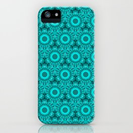 Aqua Green kaleidoscope Mandala Flower Circles and Triangles Pattern iPhone Case