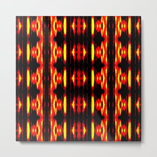 Orange Yellow Black Abstract Fire Pattern Metal Print