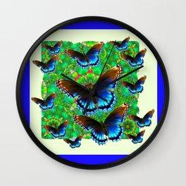 BLUE-BROWN BUTTERFLY GREEN ART Wall Clock