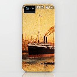 Vintage French Orient Shipping line Paris Mediterranean iPhone Case