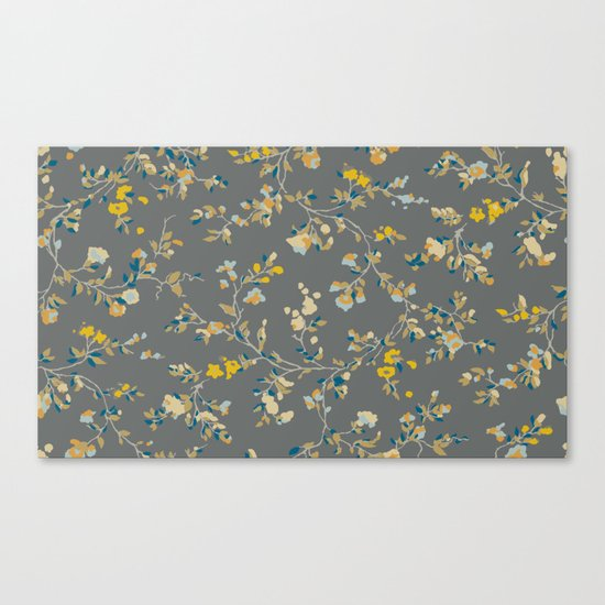 vintage floral vines - greys & mustard Canvas Print