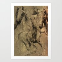 horses Art Prints featuring Horses by MikakoskArts