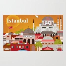 Istanbul, Turkey - Skyline Illustration by Loose Petals Rug