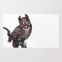 Great Horned Owl with Headphones Rug