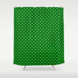 Small White Polkadot Love Heart on Christmas Green Shower Curtain