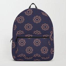 Gold floral pattern on navy ink Backpack