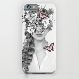 woman with flowers and butterflies 9a iPhone Case
