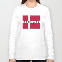 denmark Long Sleeve T-shirts featuring Denmark country flag name text by tony tudor