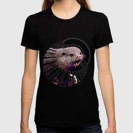 fish otter on a rock vector art purple white T-shirt