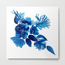 Blue watercolor flowers and stems Metal Print