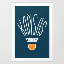 Kansas City Shuttlecock Type - White Art Print