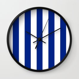 Resolution blue - solid color - white vertical lines pattern Wall Clock