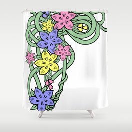 Abstract flowers corner Shower Curtain