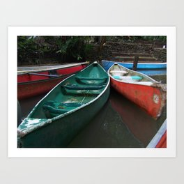 Colorful Canoes Art Print