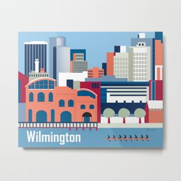 Wilmington, Delaware - Skyline Illustration by Loose Petals Metal Print