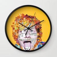 ed sheeran Wall Clocks featuring Ed Sheeran by Jack