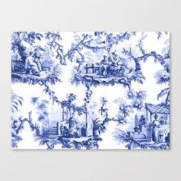 Blue Chinoiserie Toile Canvas Print
