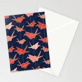 Red origami cranes on navy blue Stationery Cards