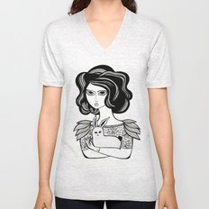 The Girl and her Bunny Unisex V-Neck