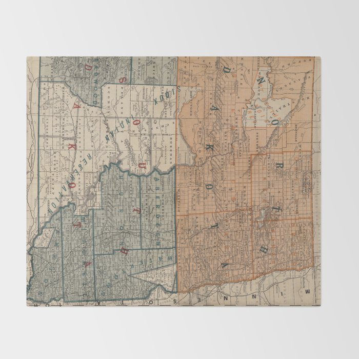 Vintage Map of North and South Dakota (1886) Throw Blanket by ...