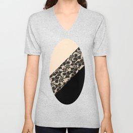Elegant Peach Ivory Black Floral Lace Color Block Unisex V-Neck