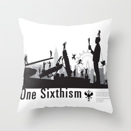 One Sixth Ism (Black World) Throw Pillow