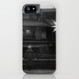 Girl in the Streetlights of Gion, Kyoto - Black and White Double Exposure Film Photograph iPhone Case