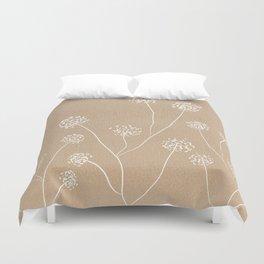 Dandelions flowers illustration on beige kraft Duvet Cover