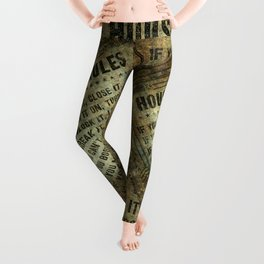 House rules on aged vintage retro looking parchment patina Leggings