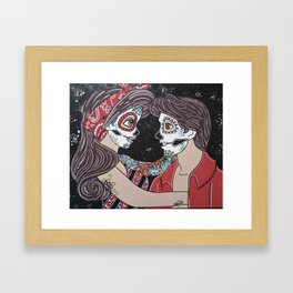 Rockabilly Sugar Skull Framed Art Print