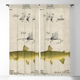 Vintage Brown Trout Fly Fishing Lure Patent Game Fish Identification Chart Blackout Curtain