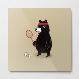 Badminton Bear Metal Print