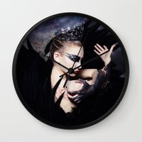 swan queen Wall Clocks featuring Odile - Swan Queen  by Jay Aheer