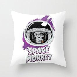 Space Monkey Retro Classic Throw Pillow