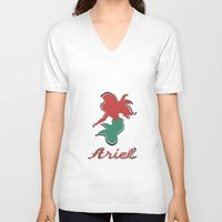 ariel V-neck T-shirts featuring Ariel by husavendaczek