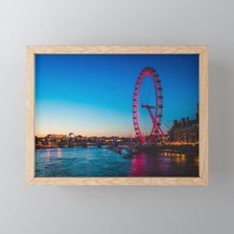 London Eye at Night | Europe UK City Urban Nightscape Sunset Photography Framed Mini Art Print