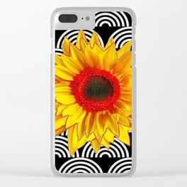 Red Sunflower Floral  Art Deco Pattern Art Clear iPhone Case