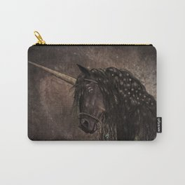 Dreamy Unicorn with brown grunge background Carry-All Pouch