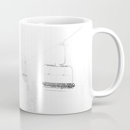 Ski Lift  // Black and White Snowy Climb Whiteout Foggy Minimal Epic Indie Alpine Photograph Coffee Mug