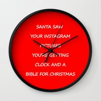 instagram Wall Clocks featuring Christmas - Instagram by Rothko