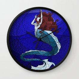 Primeval Mermaid (blue) Wall Clock