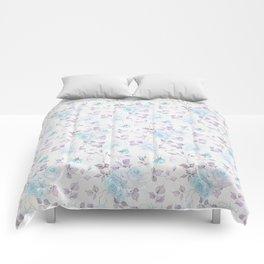 Baby blue purple vintage bohemian roses flowers Comforters