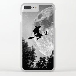 Flying witch | Moon witch | Witch cat | Witch broom | Halloween Clear iPhone Case